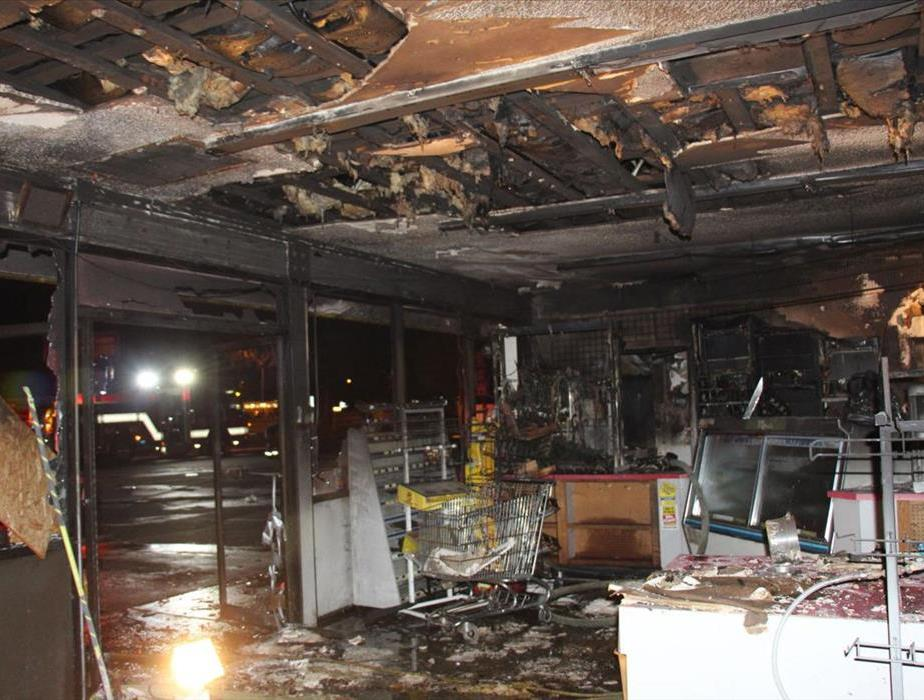 Damaged business by structural fire